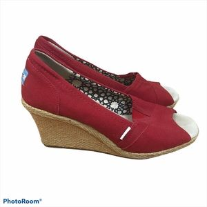Toms Classic Red Canvas Peep Toe Wedge Espadrilles